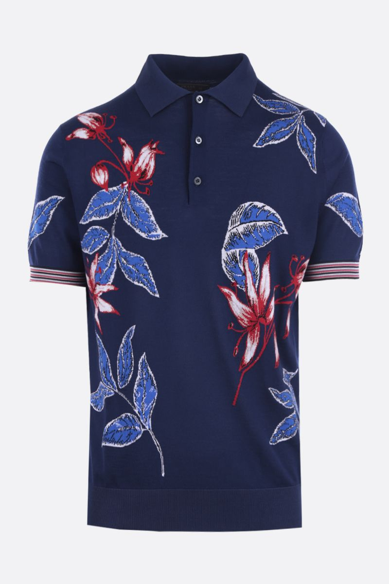 PRADA: Hibiscus intarsia combed wool short-sleeved pullover Color Blue_1