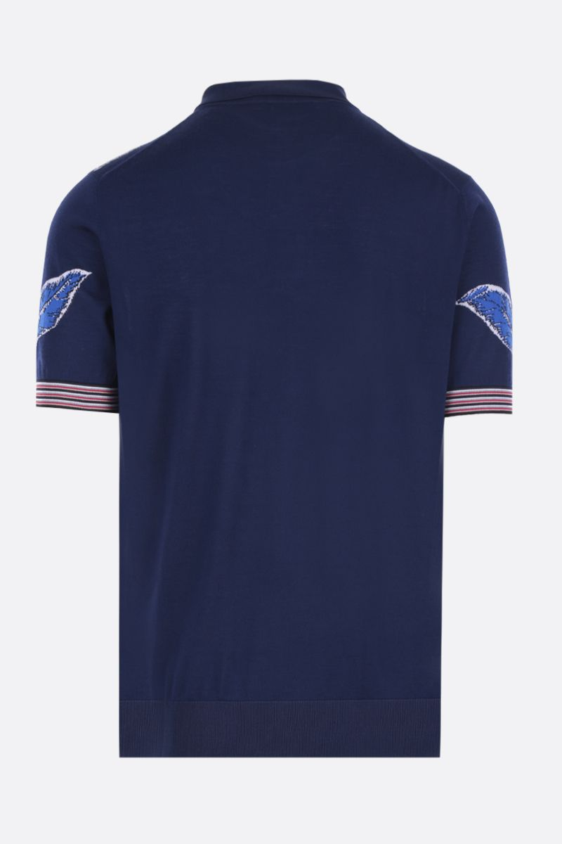 PRADA: Hibiscus intarsia combed wool short-sleeved pullover Color Blue_2