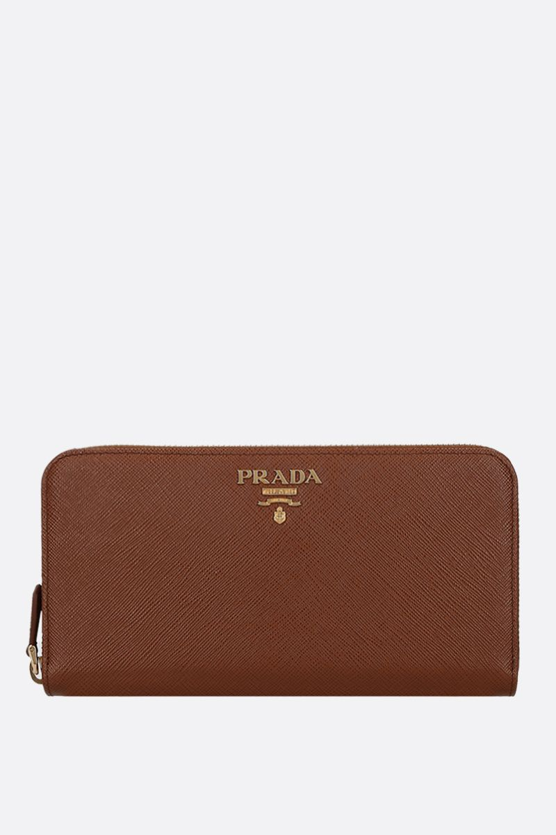PRADA: Saffiano leather zip-around wallet Color Brown_1