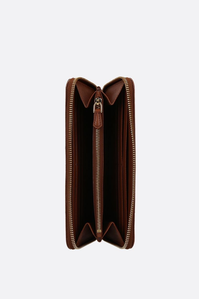 PRADA: Saffiano leather zip-around wallet Color Brown_2