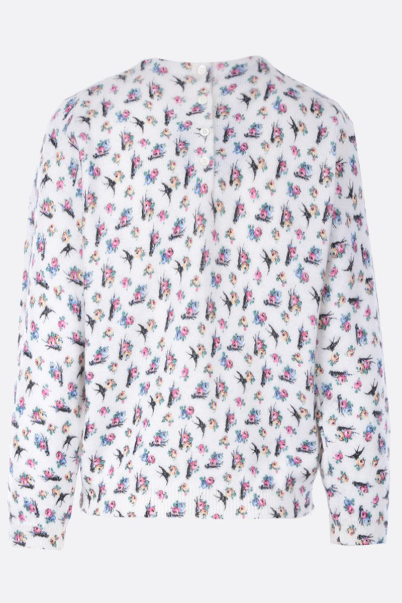 PRADA: Swallow print wool mohair blend cropped pullover Color White_2