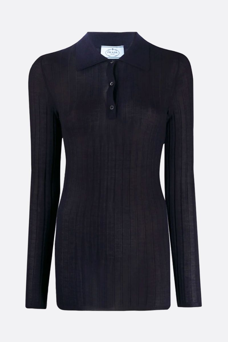 PRADA: ribbed-knit cashmere silk blend pullover Color Blue_1
