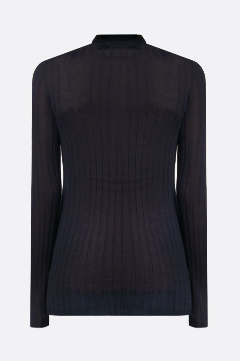 PRADA: ribbed-knit cashmere silk blend pullover Color Blue_2