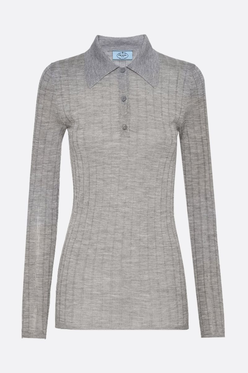 PRADA: ribbed-knit cashmere silk blend pullover Color Grey_1