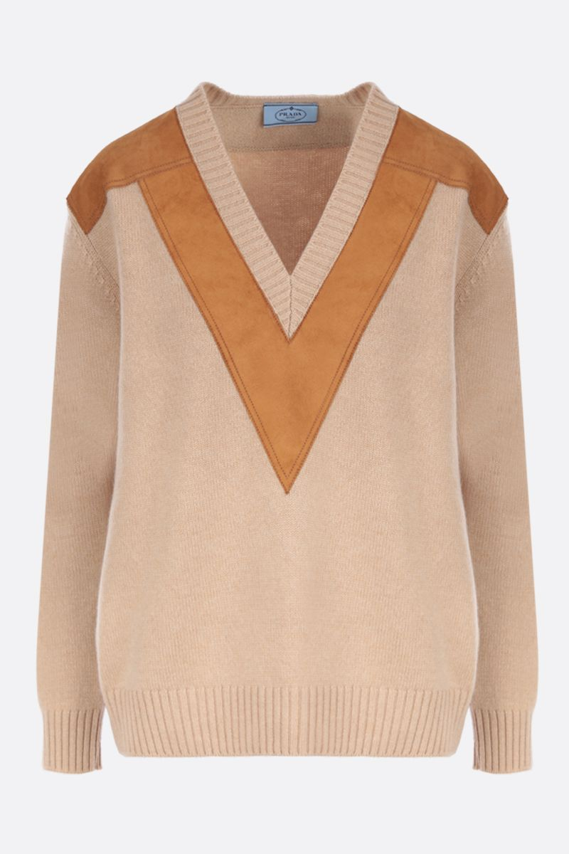 PRADA: cashmere pullover with suede inserts_1