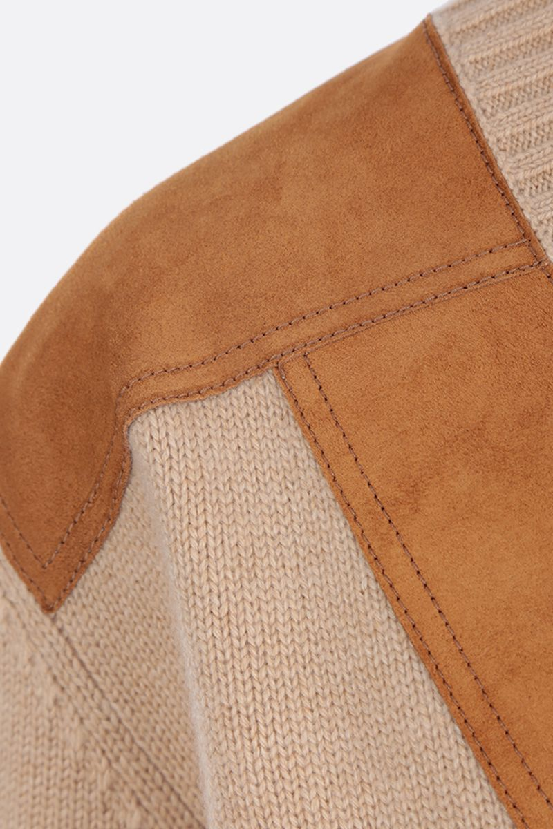 PRADA: cashmere pullover with suede inserts Color Neutral_3