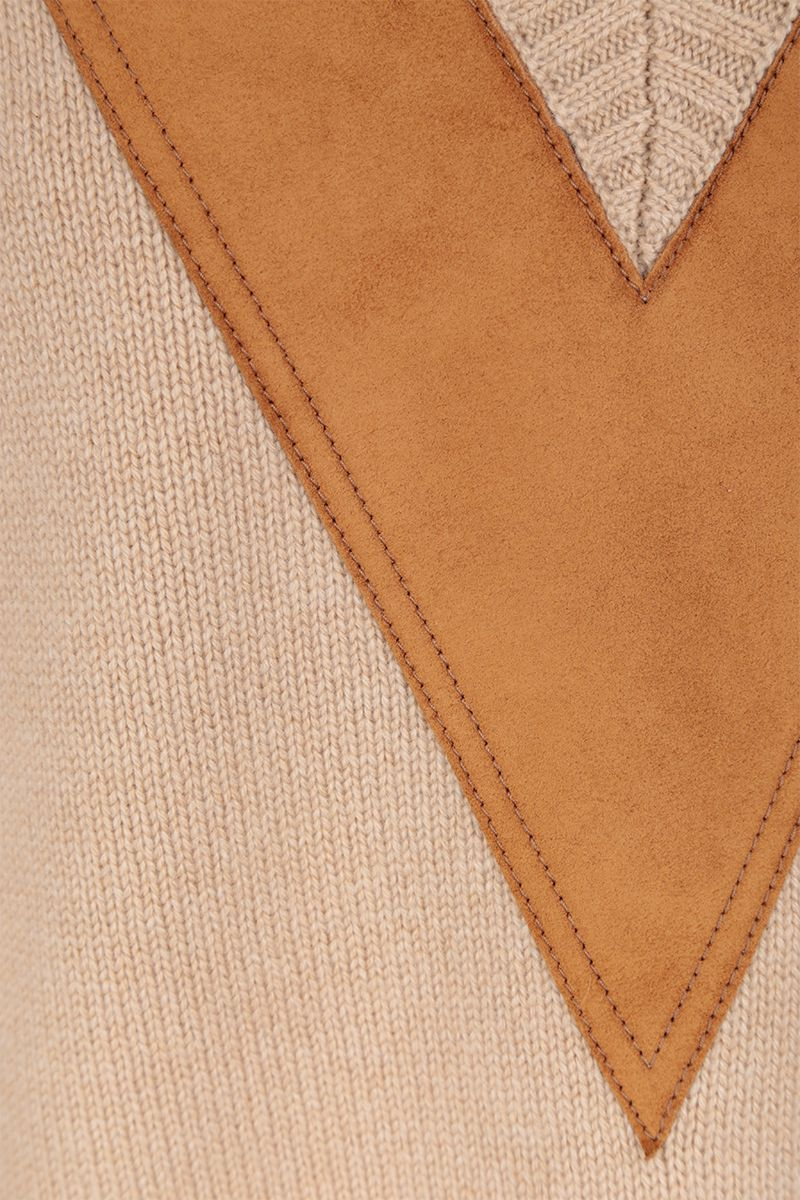 PRADA: cashmere pullover with suede inserts Color Neutral_4