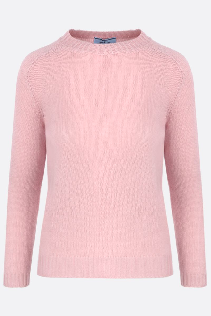 PRADA: cashmere pullover with suede patches Color Pink_1