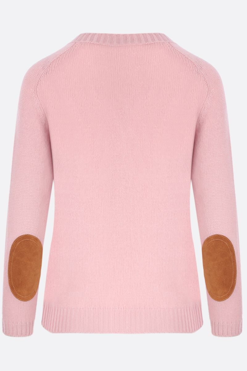 PRADA: cashmere pullover with suede patches Color Pink_2
