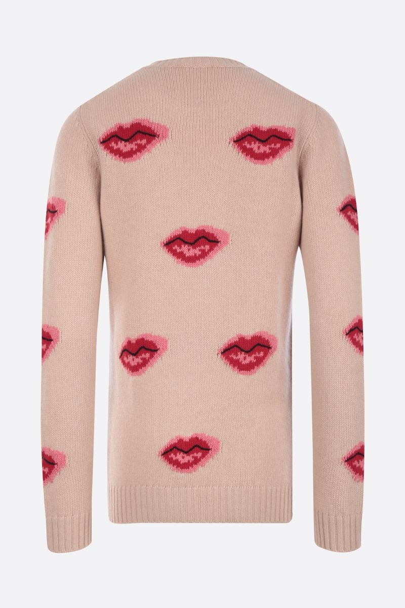 PRADA: Lips intarsia wool cashmere blend pullover Color Neutral_2