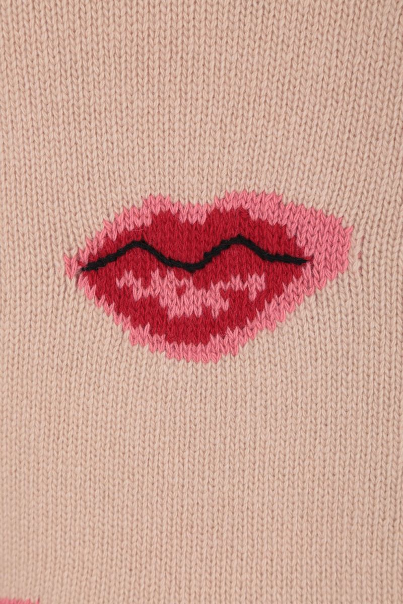 PRADA: Lips intarsia wool cashmere blend pullover Color Neutral_3