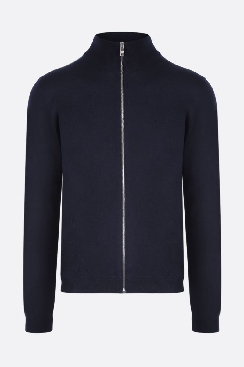 PRADA: combed wool full-zip pullover Color Blue_1
