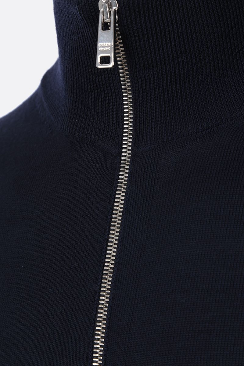 PRADA: combed wool full-zip pullover Color Blue_3