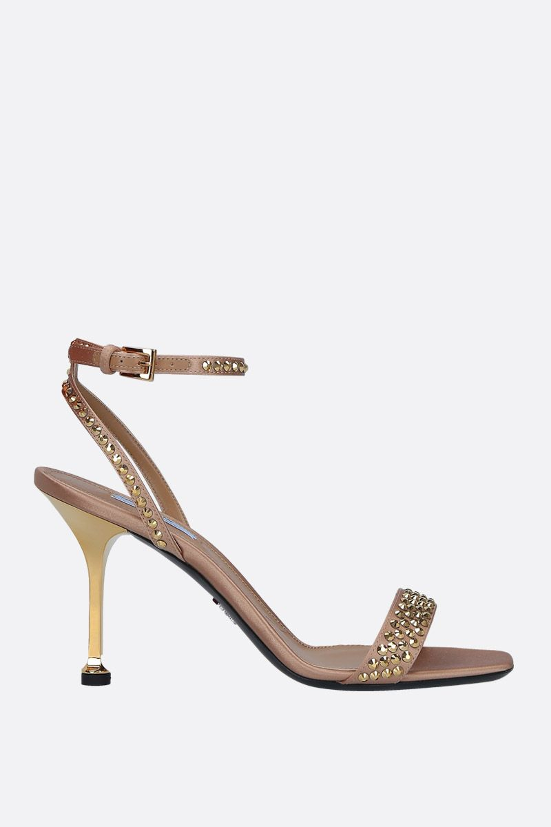 PRADA: crystal-embellished satin sandals Color Gold_1