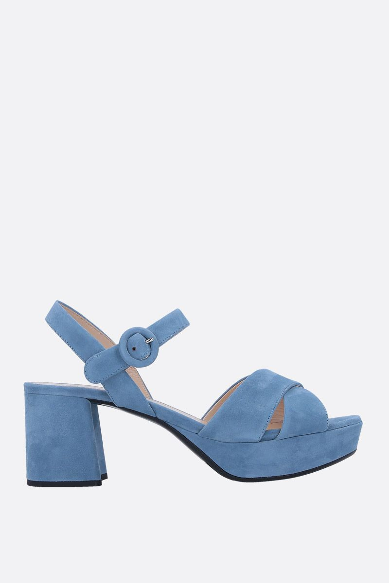 PRADA: suede platform sandals Color Blue_1