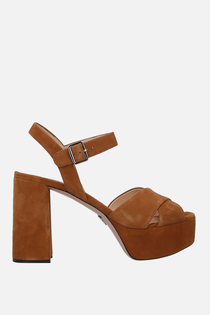 PRADA: velvet suede platform sandals Color Neutral_1