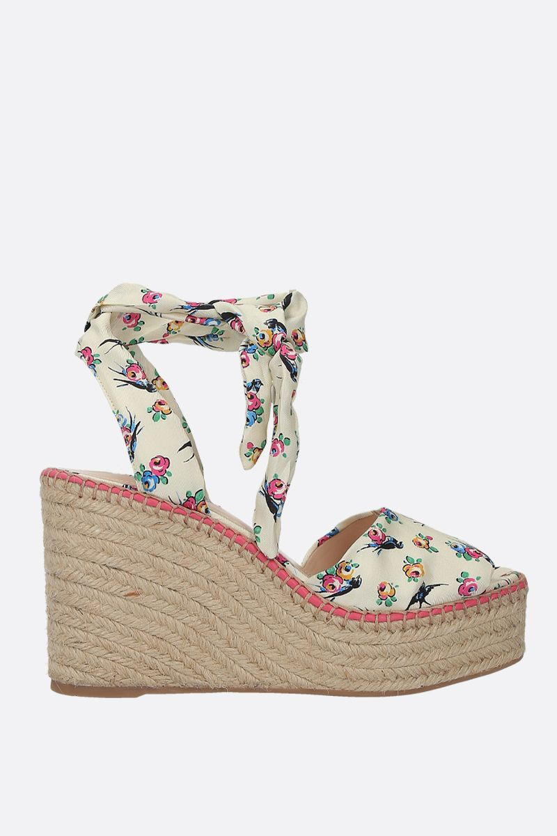 PRADA: Swallow print twill wedge sandals Color White_1