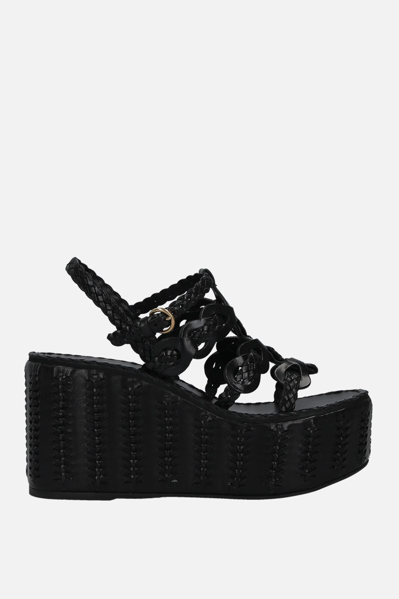 PRADA: woven leather wedge sandals Color Black_1