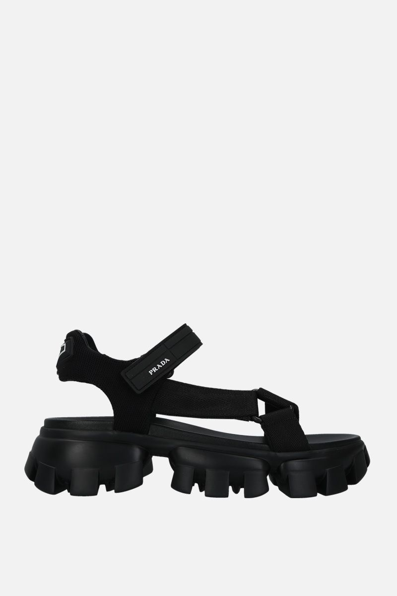 PRADA: Cloudbust Thunder sandals in tech fabric Color Black_1