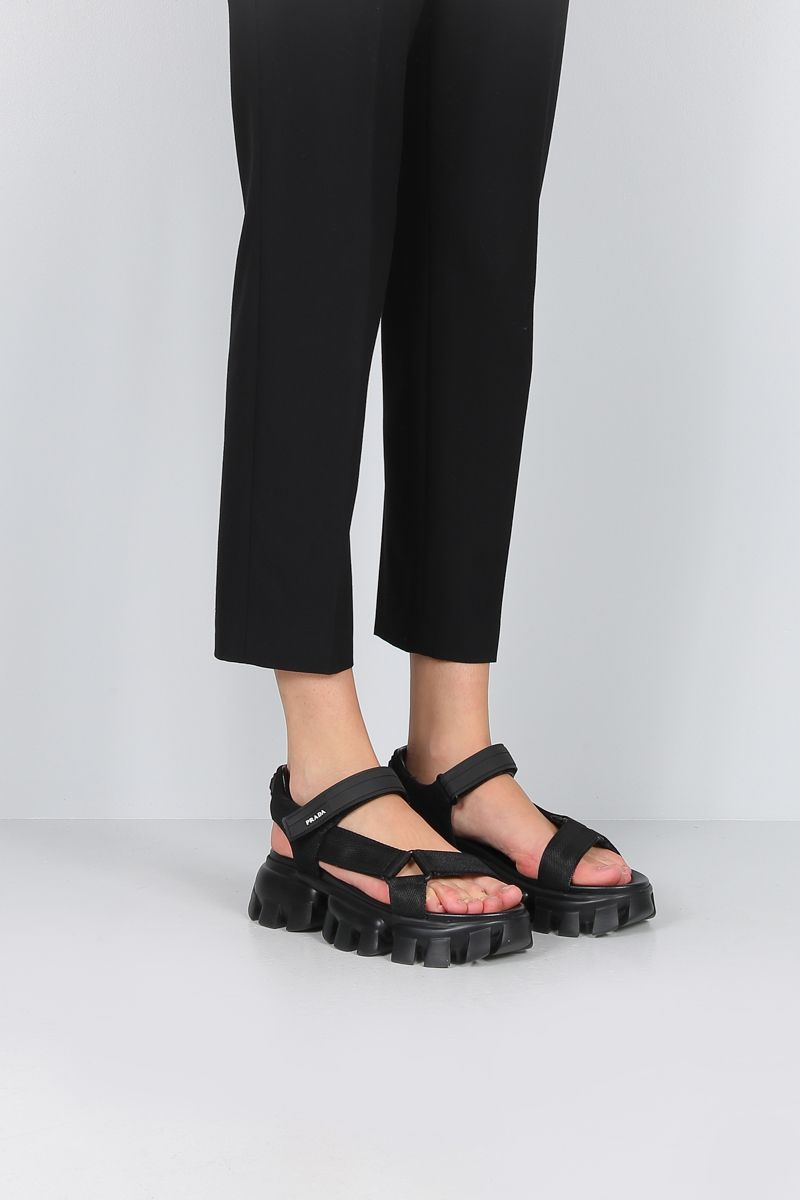 PRADA: Cloudbust Thunder sandals in tech fabric Color Black_2
