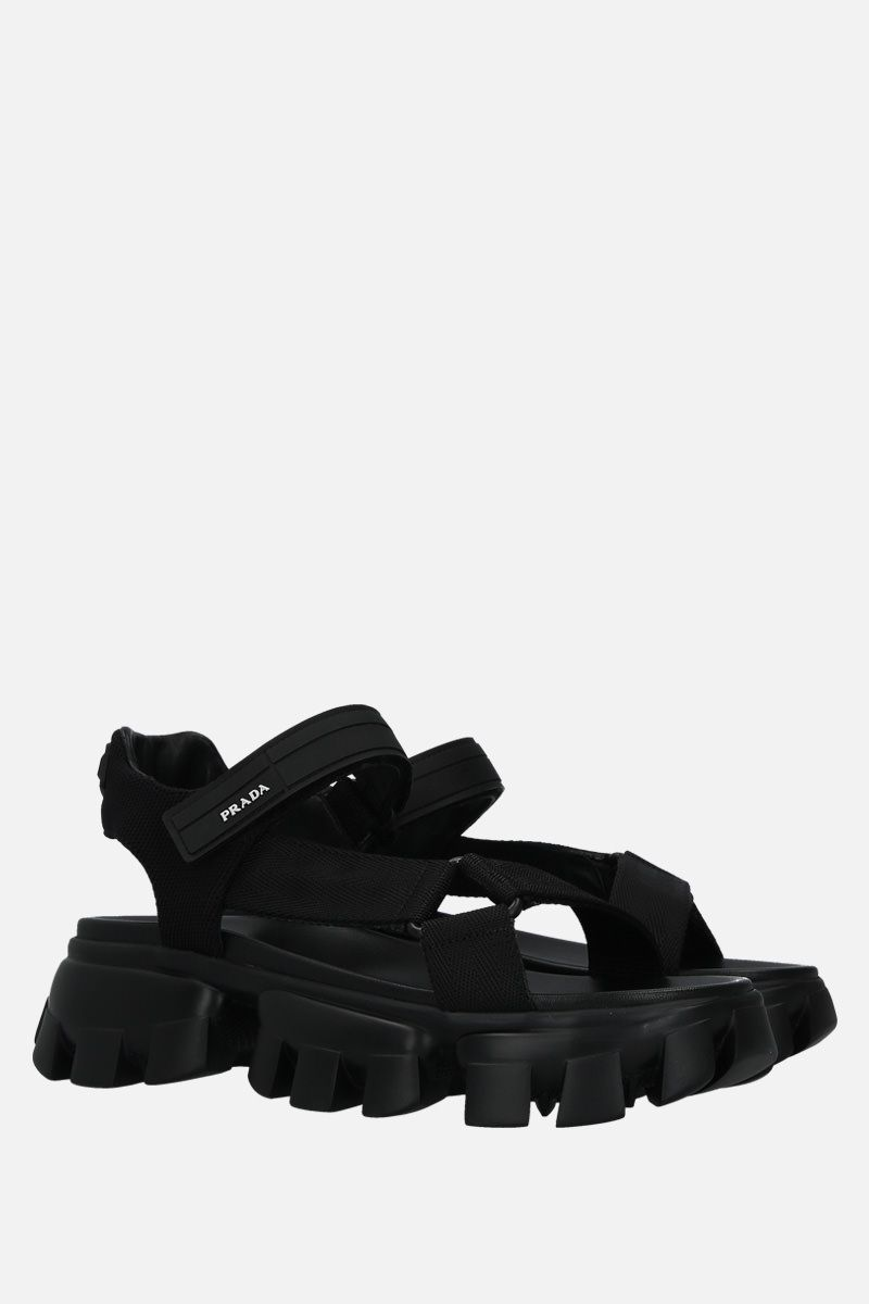PRADA: Cloudbust Thunder sandals in tech fabric Color Black_3