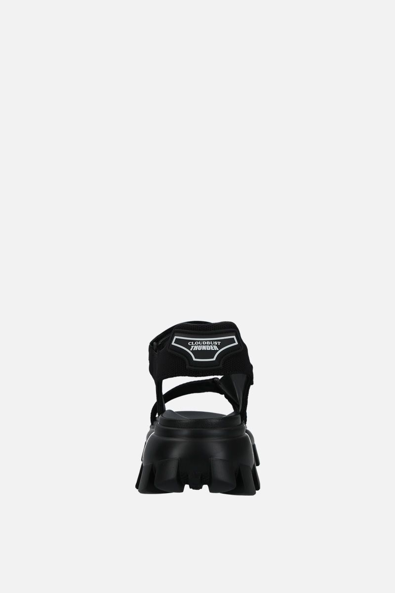 PRADA: Cloudbust Thunder sandals in tech fabric Color Black_4