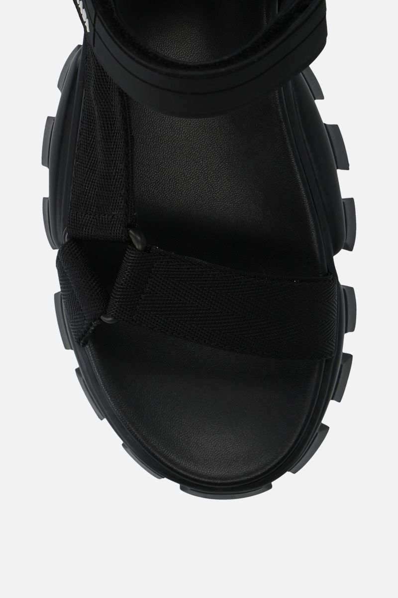 PRADA: Cloudbust Thunder sandals in tech fabric Color Black_5