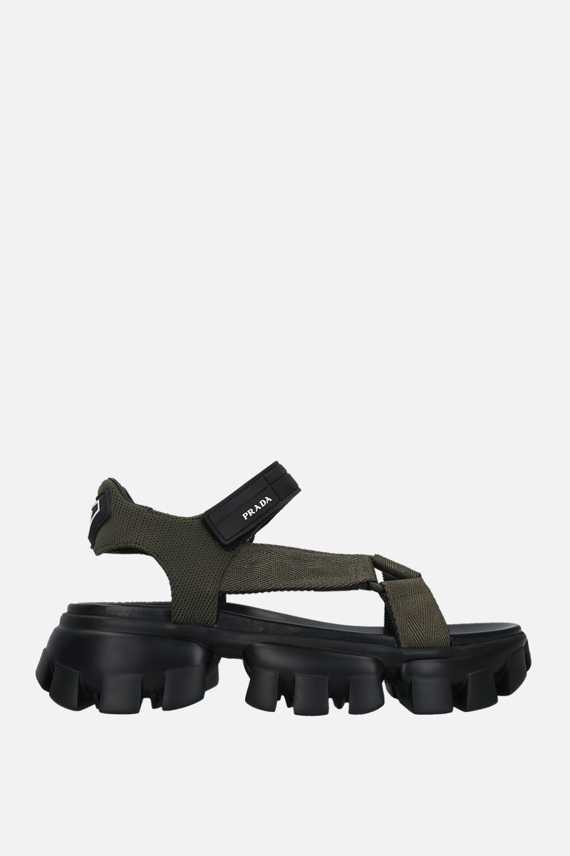 PRADA: Cloudbust Thunder sandals in tech fabric Color Brown_1