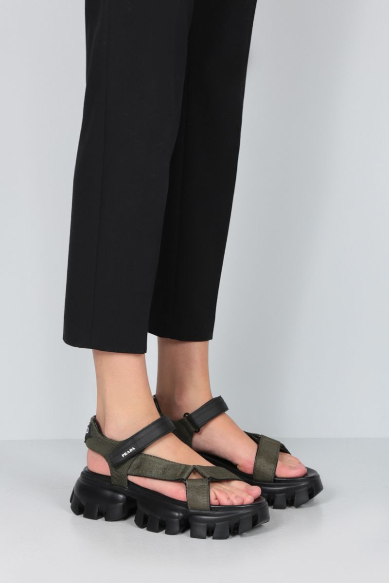 PRADA: Cloudbust Thunder sandals in tech fabric Color Brown_2