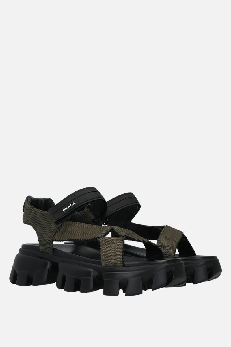 PRADA: Cloudbust Thunder sandals in tech fabric Color Brown_3