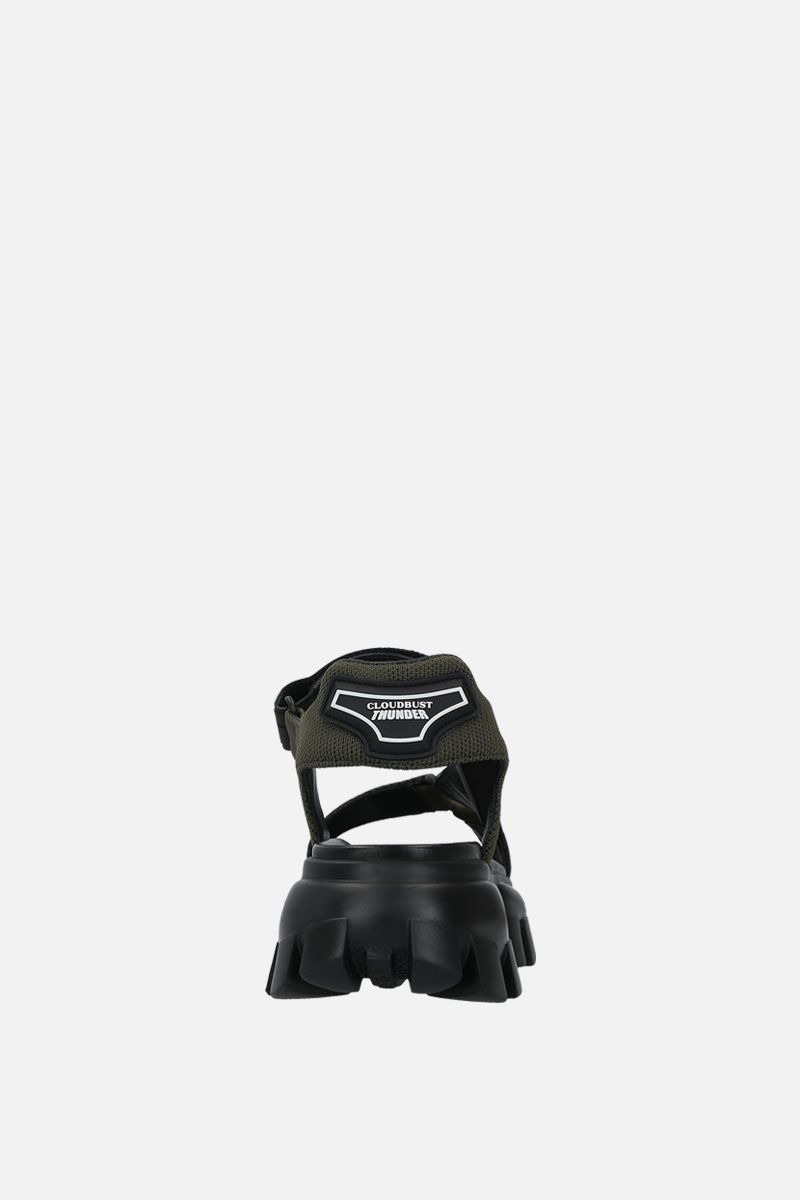 PRADA: Cloudbust Thunder sandals in tech fabric Color Brown_4