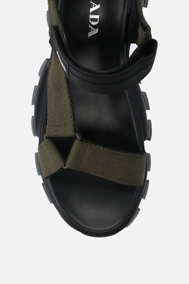 PRADA: Cloudbust Thunder sandals in tech fabric Color Brown_5