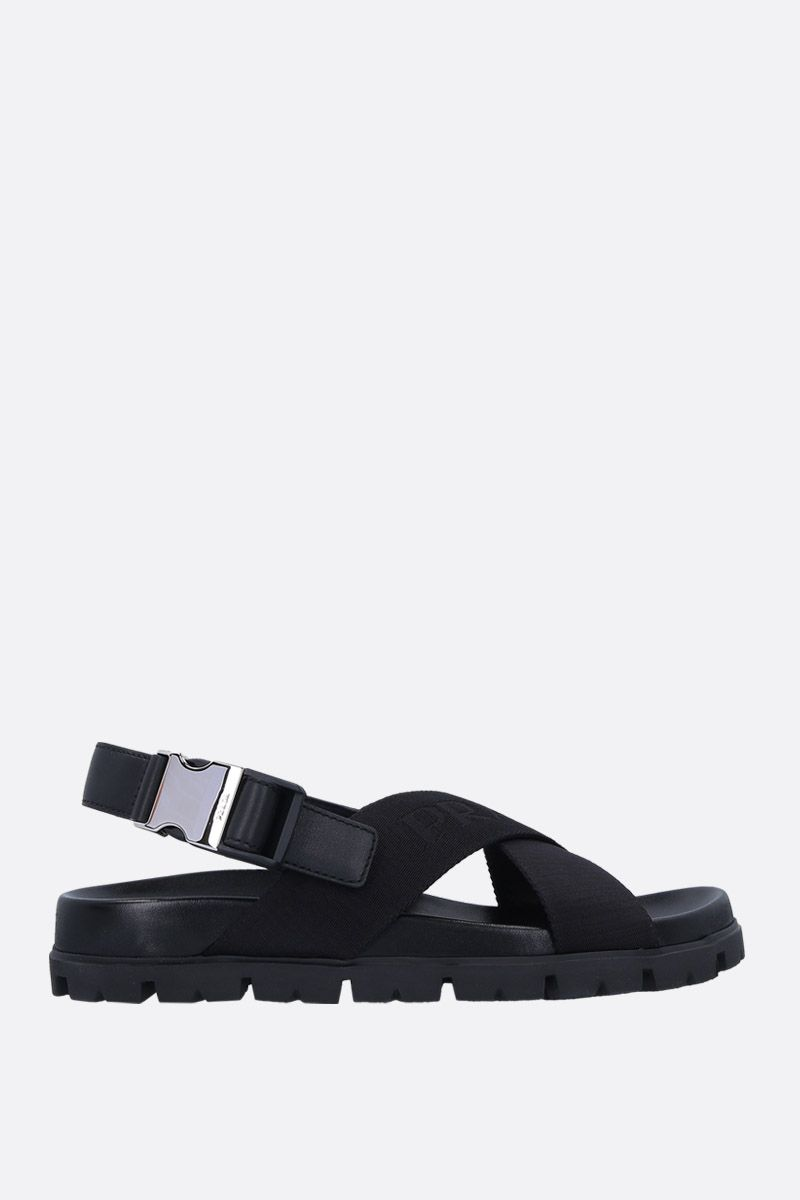 PRADA: flatform sandals in nylon and leather Color Black_1