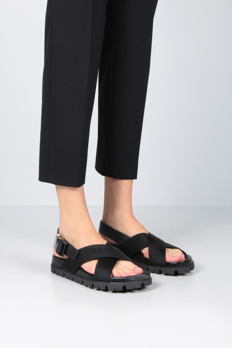 PRADA: flatform sandals in nylon and leather Color Black_2