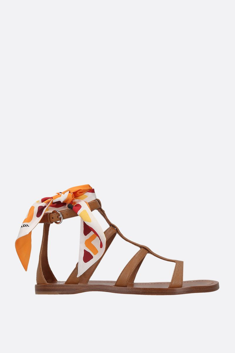 PRADA: Saffiano leather flat sandals Color Brown_1