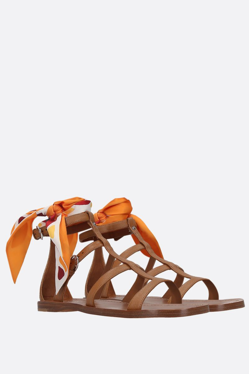 PRADA: Saffiano leather flat sandals Color Brown_2