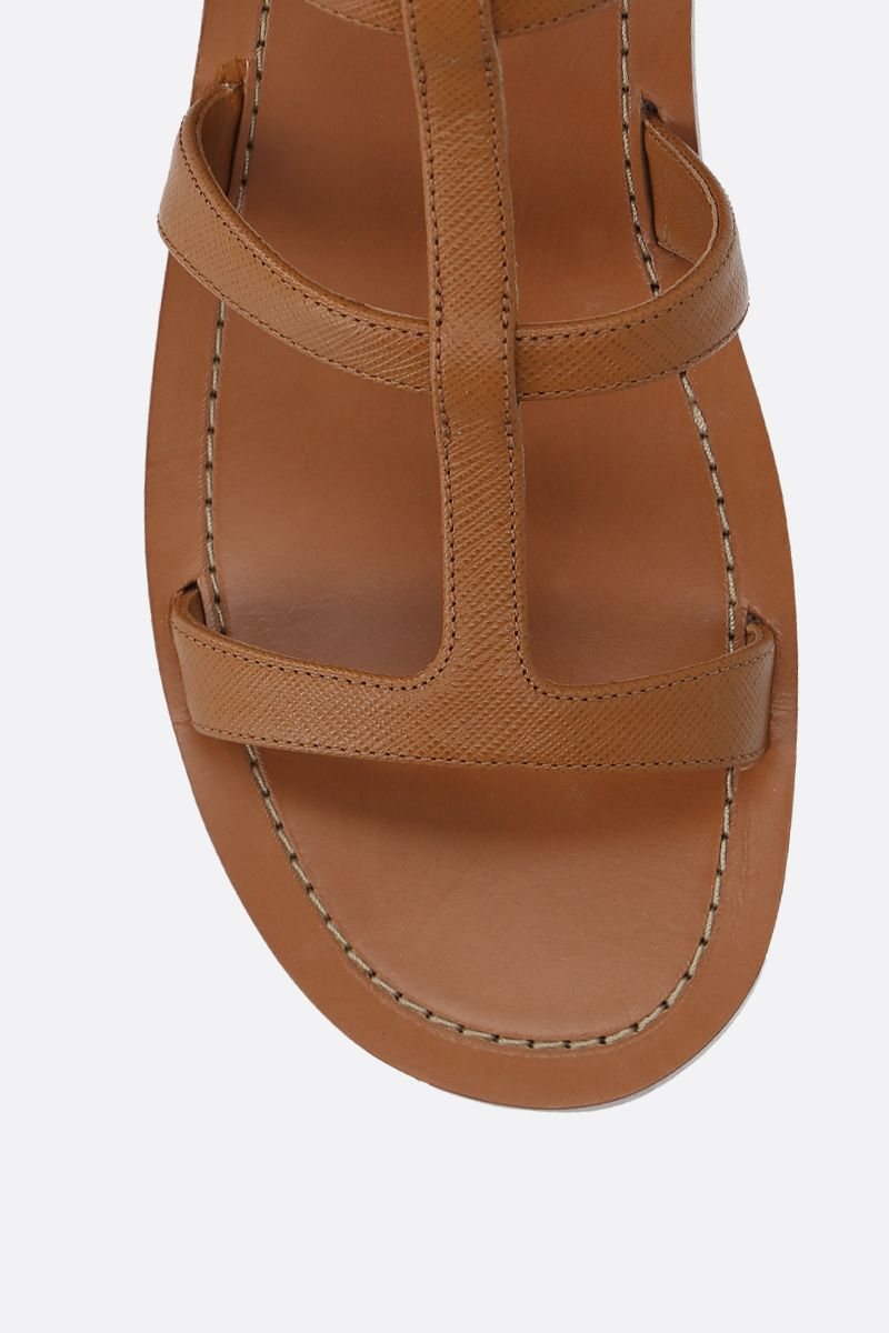 PRADA: Saffiano leather flat sandals Color Brown_4