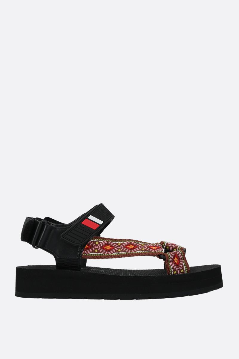 PRADA: jacquard flatform sandals Color Brown_1