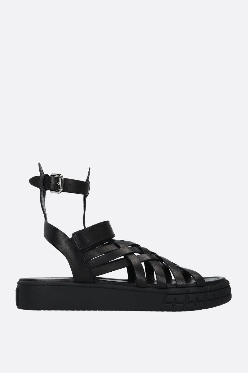 PRADA: smooth leather gladiator sandals Color Black