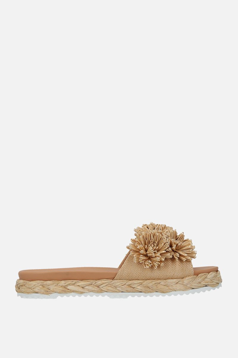 PRADA: raffia flat sandals Color Neutral_1
