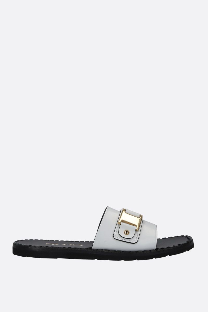 PRADA: Rois brushed leather flat sandals Color White_1