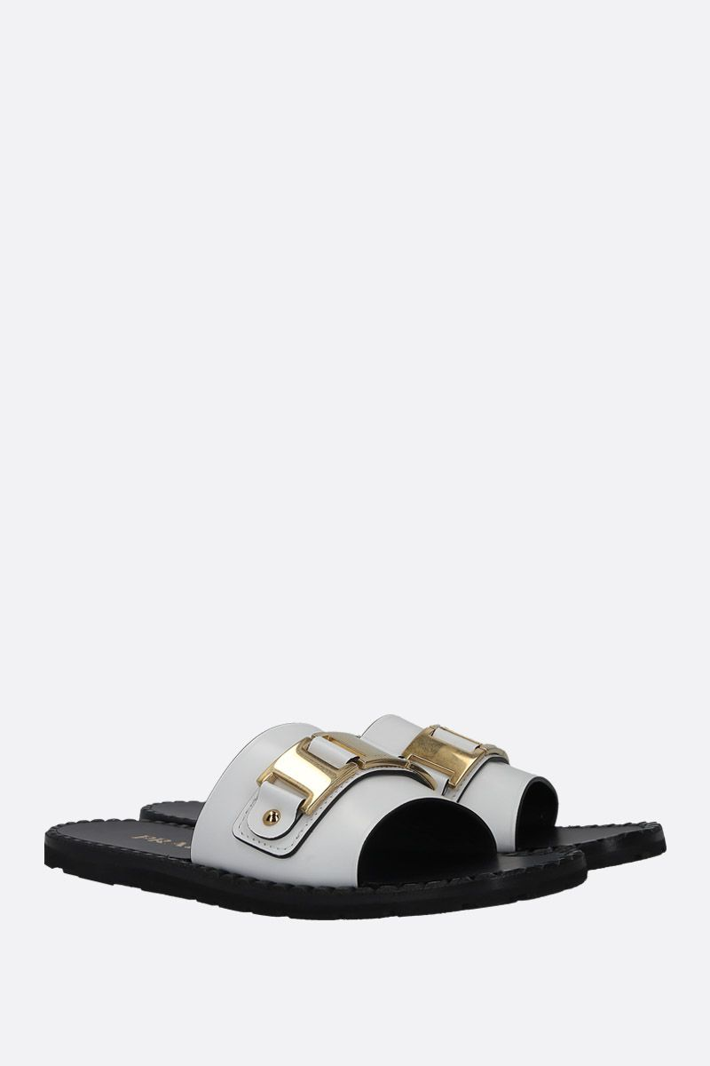 PRADA: Rois brushed leather flat sandals Color White_3