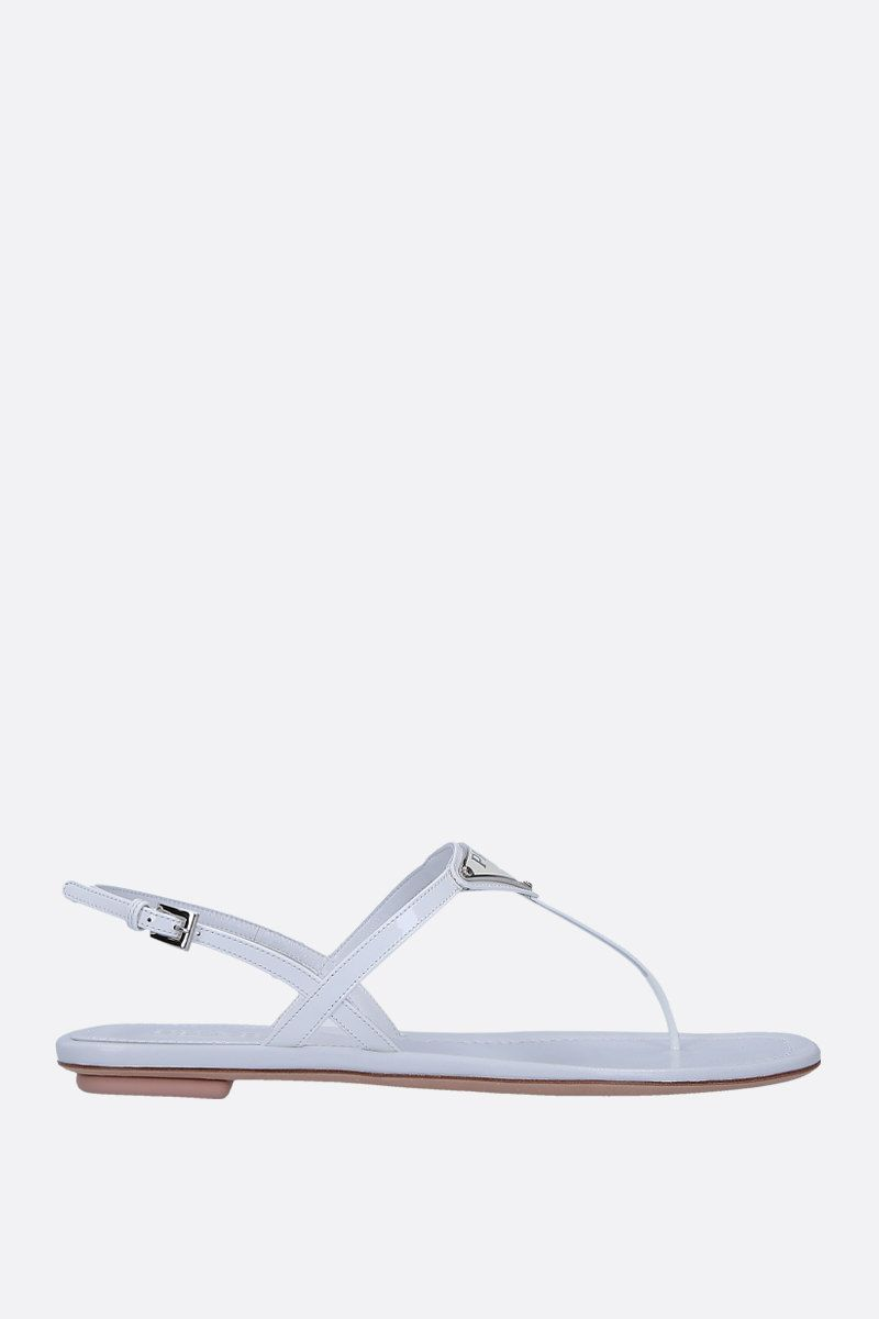 PRADA: patent leather thong sandals Color White_1