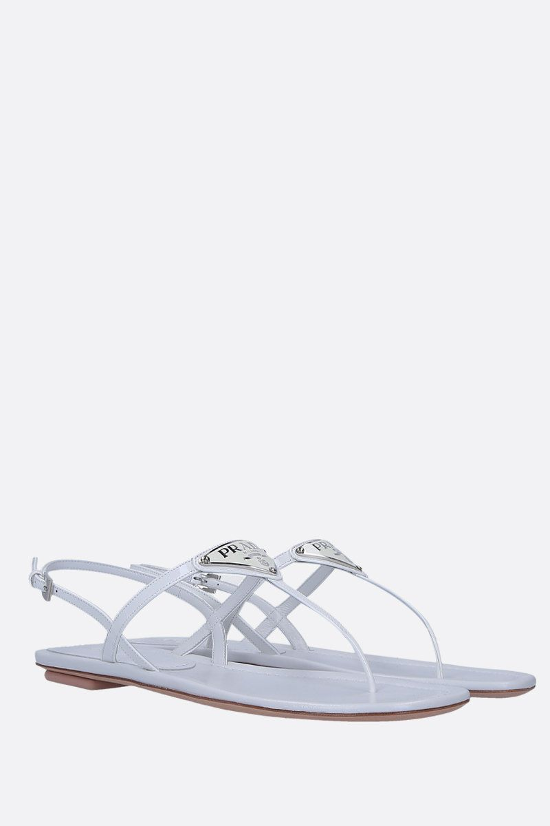 PRADA: patent leather thong sandals Color White_2