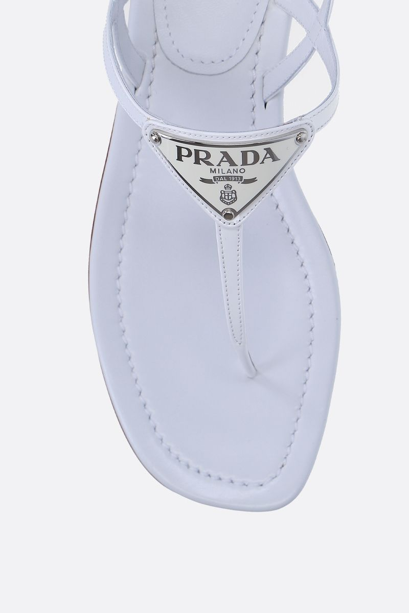 PRADA: patent leather thong sandals Color White_4