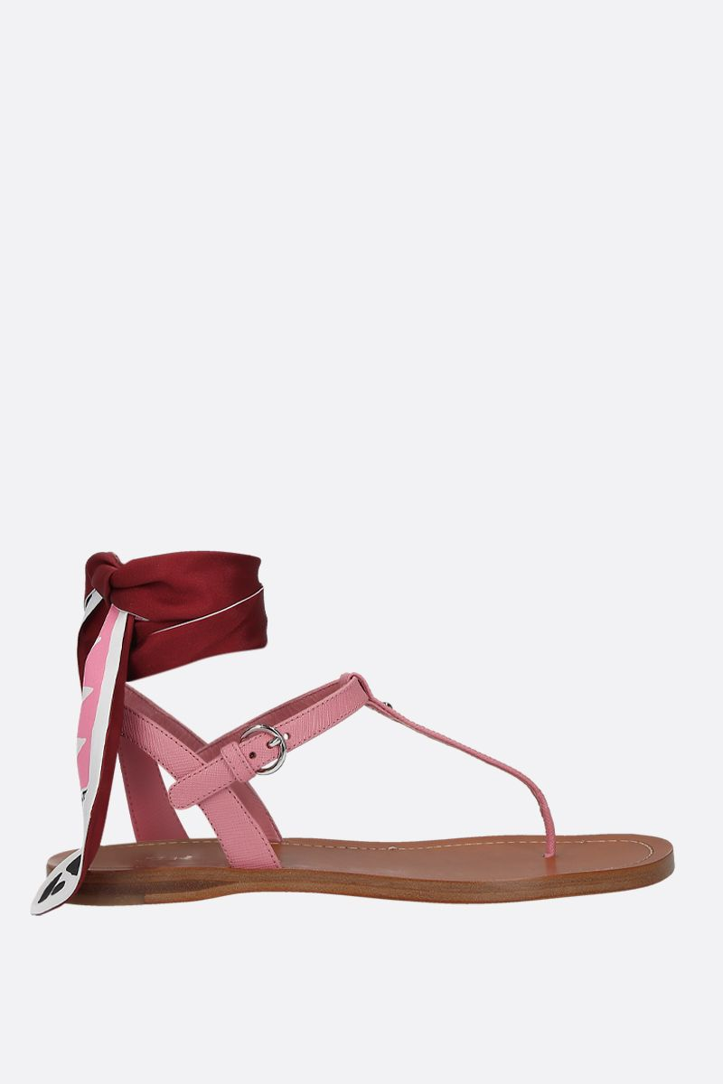 PRADA: Saffiano leather thong sandals Color Pink_1