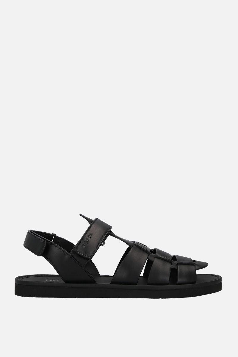 PRADA: smooth leather flat sandals Color Black_1