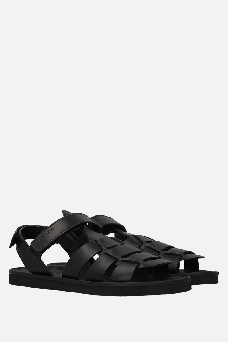 PRADA: smooth leather flat sandals Color Black_2