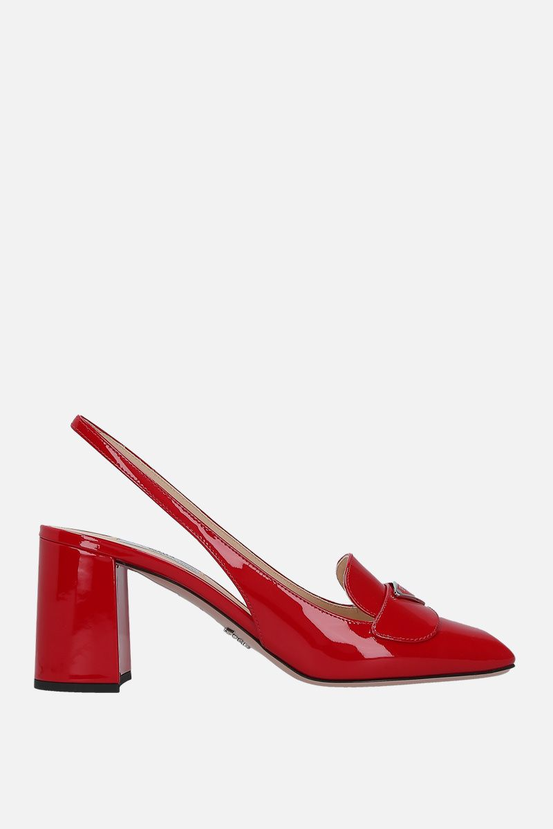PRADA: logo-detailed patent leather slingbacks Color Red_1