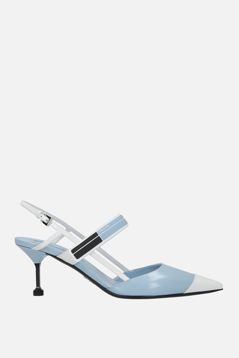 PRADA: brushed calf slingbacks Color Blue_1